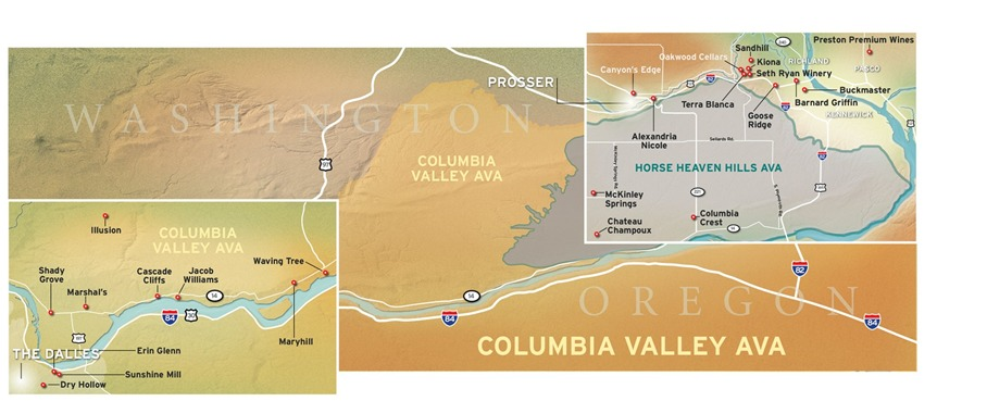 Columbia Valley Wine Map
